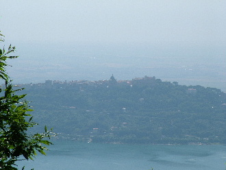 Castel Gandolfo on the banks above Albano Lake