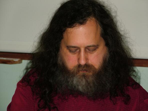 Richard Stallman waits to speak at university in Rome